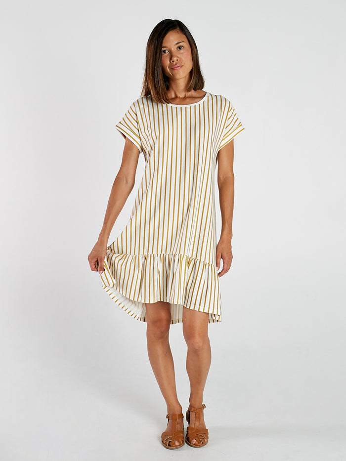 Stripe Womens Tee Frill Dress