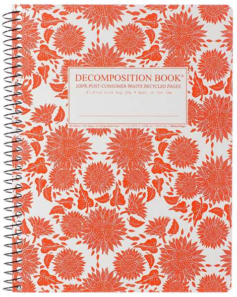 Recycled Notebook | 100% Post Consumer Waste | Sunflowers Decomposition Book