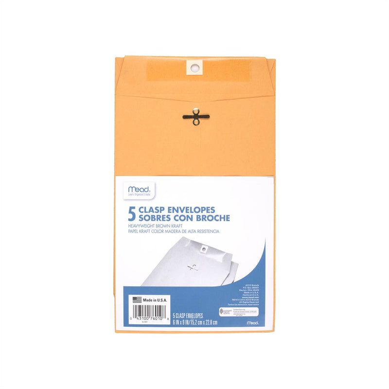 Mead Heavyweight Clasp Envelopes (6 x 9; 5 per pack)