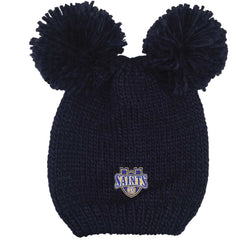 "LogoFit ""Rey"" Youth Double Pom Knit Hat - Navy"