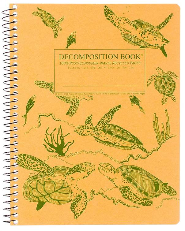 Recycled Notebook | 100% Post Consumer Waste | Sea Turtles Decomposition Book
