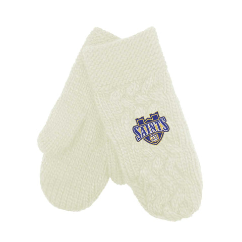 "LogoFit ""Arya"" Cable Knit Mittens - Cream"