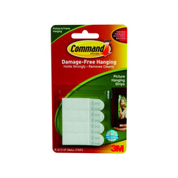 Command Adhesive Picture Hanging Strips White Small 4 Pk