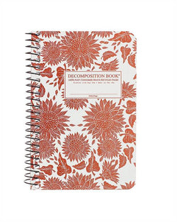 Recycled Notebook | 100% Post Consumer Waste | Sunflowers Decomposition Book | Pocket Sized