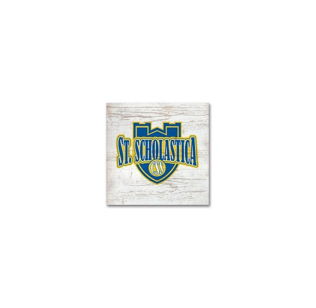 Legacy Small Square Block with Athletics St. Scholastica Shield