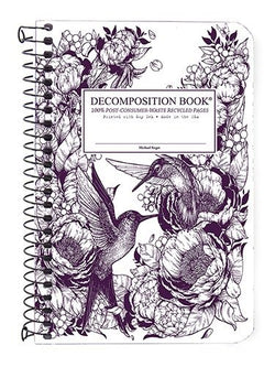Recycled Notebook | 100% Post Consumer Waste | Hummingbirds Decomposition Book | Pocket Sized