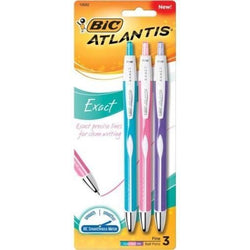 BIC Atlantis Exact RT BP Pen .7mm Asst 3 Pk
