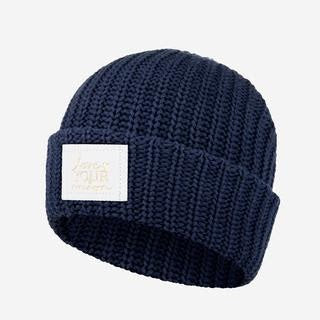 Love Your Melon Navy Cuffed Beanie (White Gold Foil Patch)