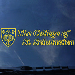 Shield next to The College of St. Scholastica Decal