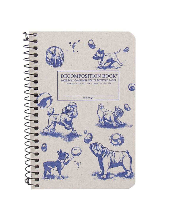 Recycled Notebook | 100% Post Consumer Waste | Dogs and Bubbles Decomposition Book | Pocket Sized