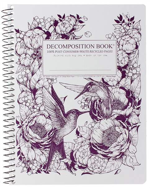 Recycled Notebook | 100% Post Consumer Waste | Hummingbirds Decomposition Book