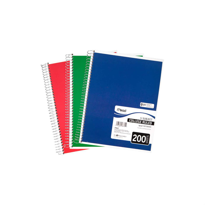 Mead Wirebound Notebook Asst 11x8in 200Sht Bulk 5 Subject/College Ruled