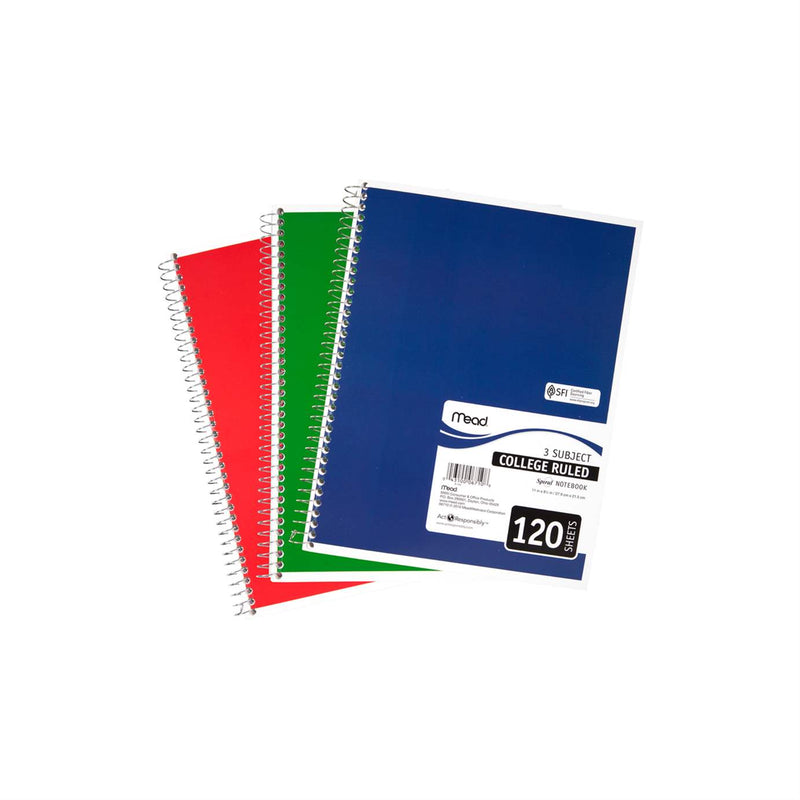 Mead Wirebound Notebook Asst 11x8in 120Sht Bulk 3 Subject/College Ruled