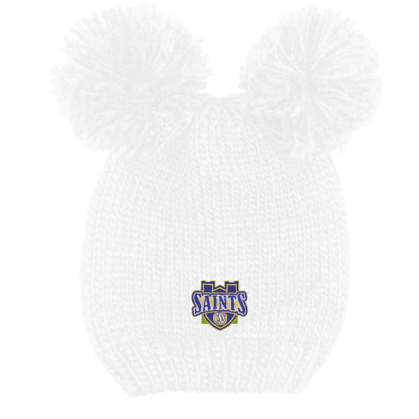 "LogoFit ""Rey"" Youth Double Pom Knit Hat - White"