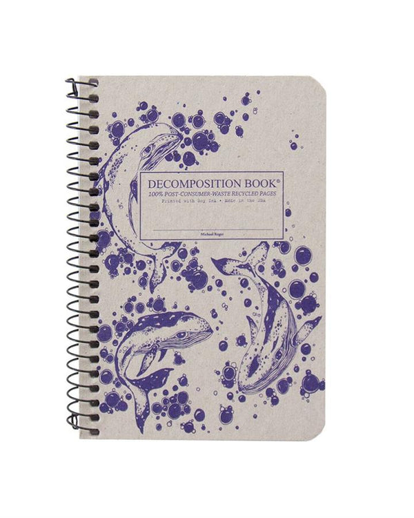 Recycled Notebook | 100% Post Consumer Waste | Humpback Whales Decomposition Book | Pocket Sized