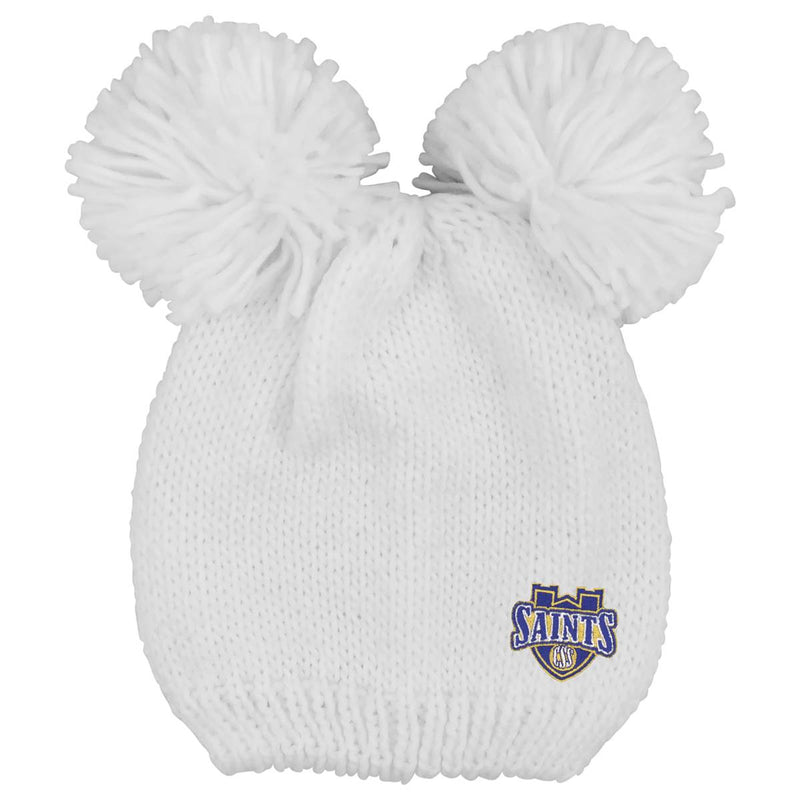 "LogoFit ""Leia"" Double Pom Knit Hat - White"