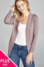 slaythedaybydcole,Ladies Fashion Plus Size Long Sleeve Rib Banded Open Sweater Cardigan With Pockets,Slay The Day By D Cole,