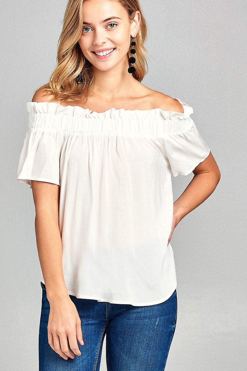 Elastic Bubble Hem Rayon Challis Woven Top - Slay The Day By D Cole