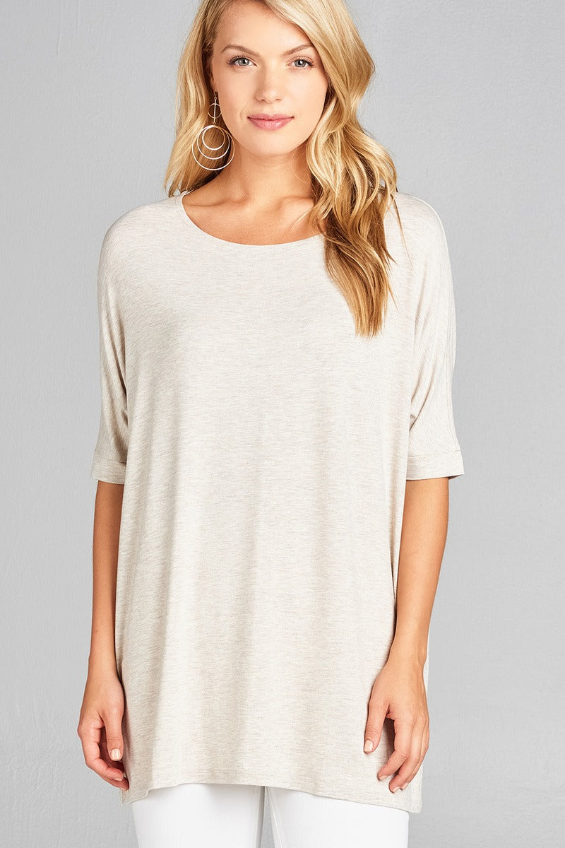 Round Neck Jersey Tunic Top - Slay The Day By D Cole