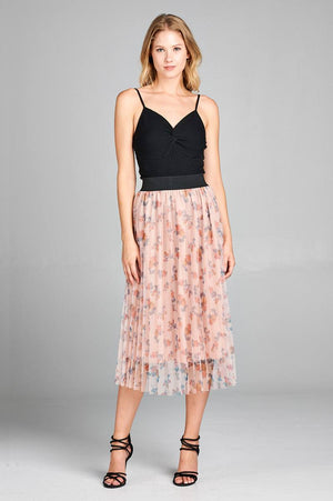 slaythedaybydcole,Floral Print Accordion Mesh Midi Skirt,Slay The Day By D Cole,