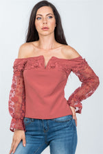slaythedaybydcole,V-wire Off The Shoulder Floral Applique Top,Slay The Day By D Cole,