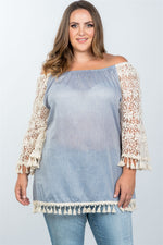 slaythedaybydcole,Plus Size Boho Off The Shoulder Tassel Top,Slay The Day By D Cole,