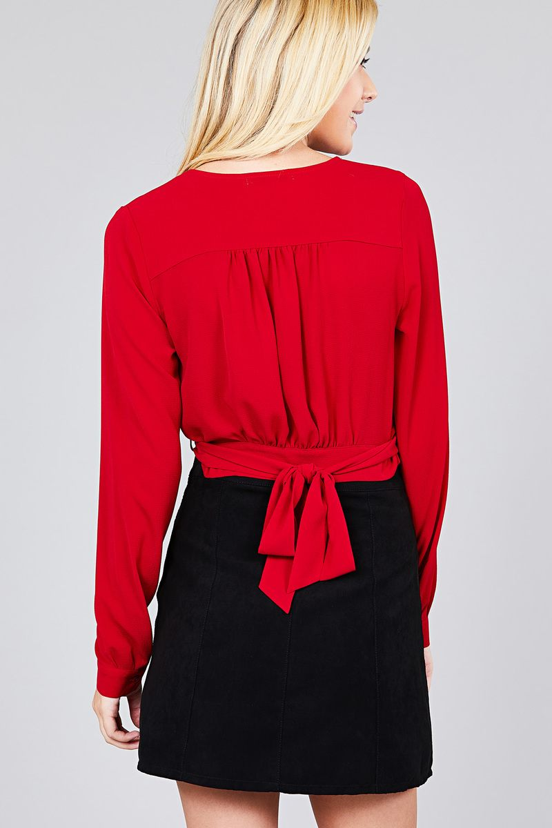 slaythedaybydcole,Bella Surplice Wrap Woven Top W/ Bow Tie Closure,Slay The Day By D Cole,