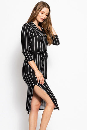 slaythedaybydcole,Stripes Print, Midi Tee Dress,Slay The Day By D Cole,