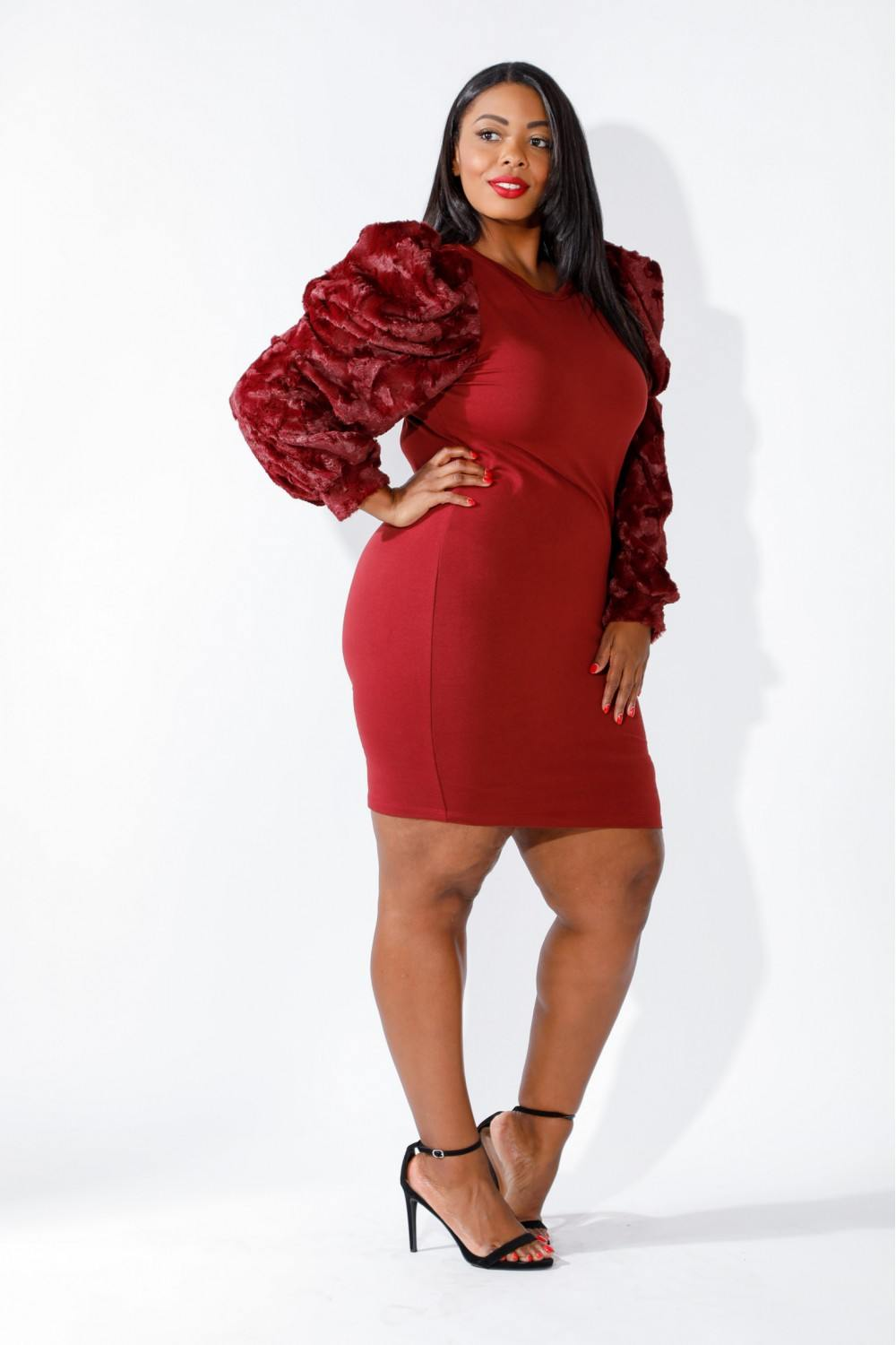 slaythedaybydcole,Faux Fur Power Shoulder Dress,Slay The Day By D Cole,