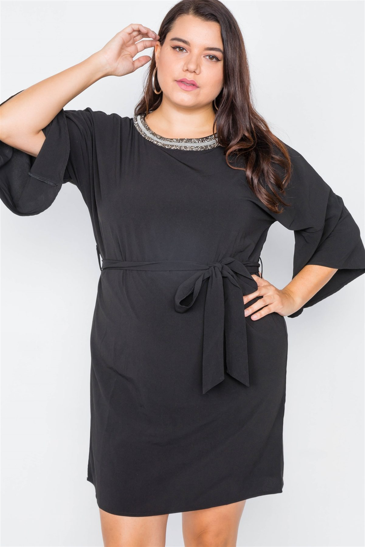 slaythedaybydcole,SLAY-  Beaded Neckline All Black Dress,Slay The Day By D Cole,