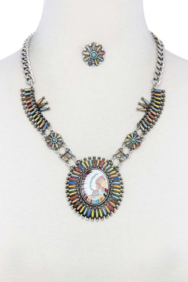 slaythedaybydcole,Multi Color Indigenous Pendant Necklace,Slay The Day By D Cole,