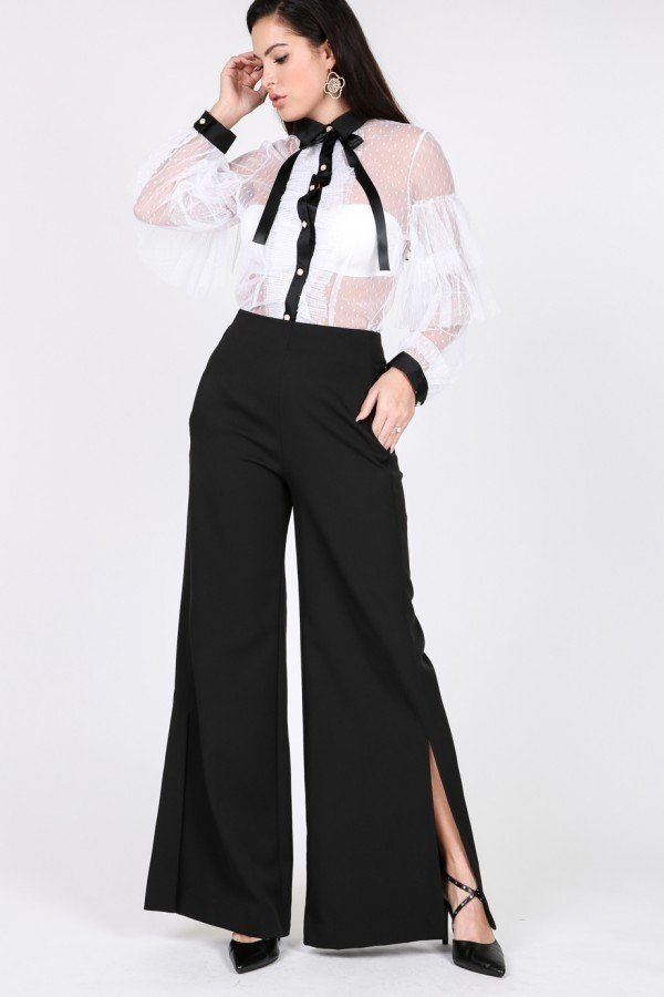 slaythedaybydcole,Side Slit Detail Wide Leg Pants,Slay The Day By D Cole,