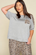 slaythedaybydcole,Animal Print Pocket French Terry Casual Top,Slay The Day By D Cole,