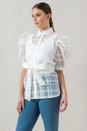 slaythedaybydcole,A See-thru Mini Length Organza Top,Slay The Day By D Cole,