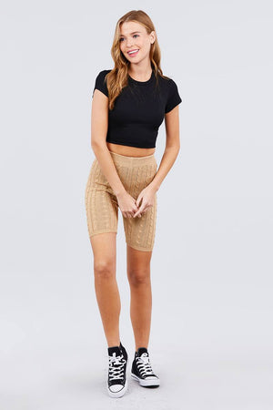 slaythedaybydcole,Twisted Knit Bermuda Length Sweater Shorts,Slay The Day By D Cole,