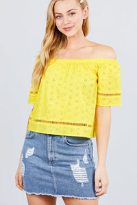 slaythedaybydcole,Off The Shoulder Lace Trim Eyelet Detail Woven Top,Slay The Day By D Cole,