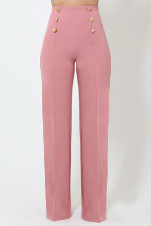 Button High-waist Flared Crepe Pants