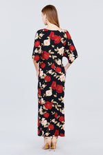 slaythedaybydcole,Short Dolman Sleeve V-neck Front Knot And Slit Print Knit Long Dress,Slay The Day By D Cole,