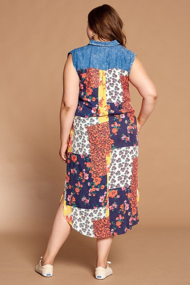slaythedaybydcole,Mixed-floral Patchwork Printed Maxi Dress With Denim Yolk,Slay The Day By D Cole,