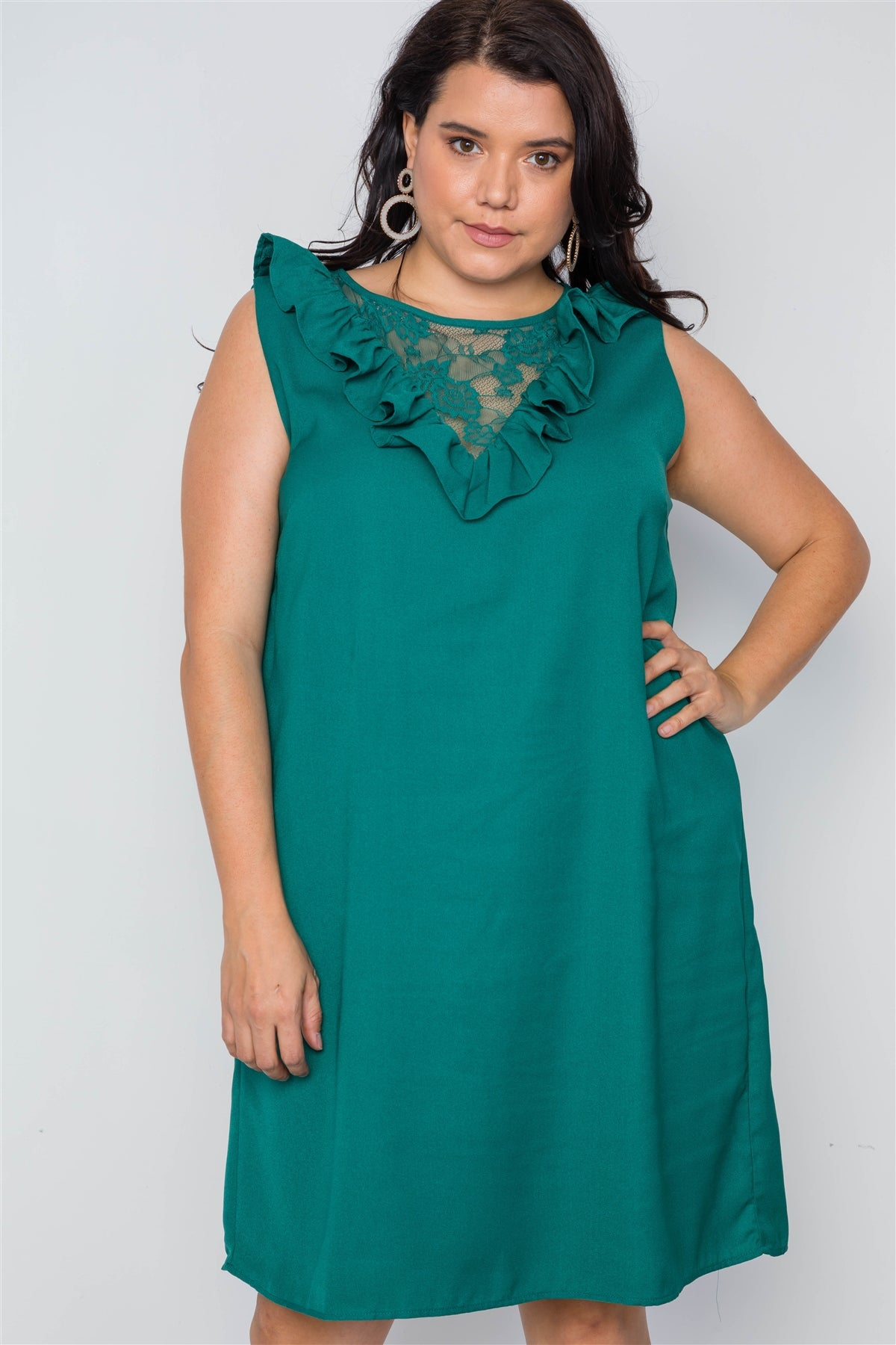 slaythedaybydcole,Plus Size Lace Top Shift Midi Dress,Slay The Day By D Cole,