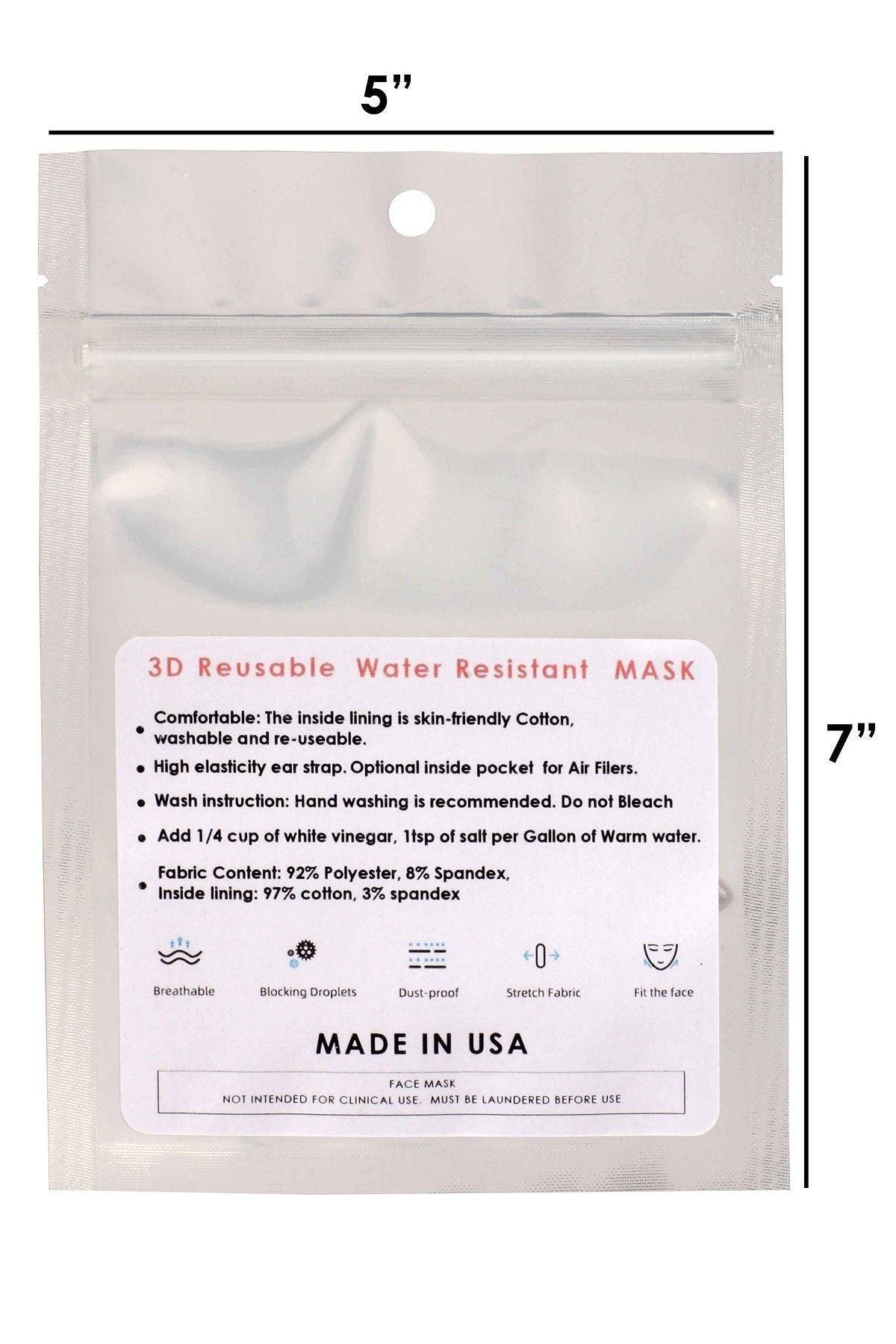 White 3d Reusable Water Resistant Face Mask