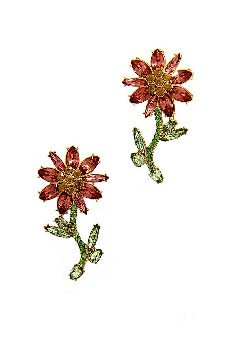 Multi Rhinestone Flower Earrings
