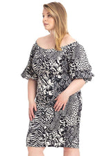 slaythedaybydcole,Plus Size  Animal Print Crepe Stretch Bodycon Dress,Slay The Day By D Cole,