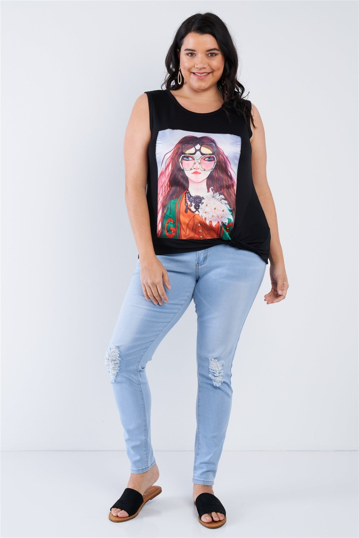 slaythedaybydcole,Plus Size Shady Girl Graphic Top,Slay The Day By D Cole,