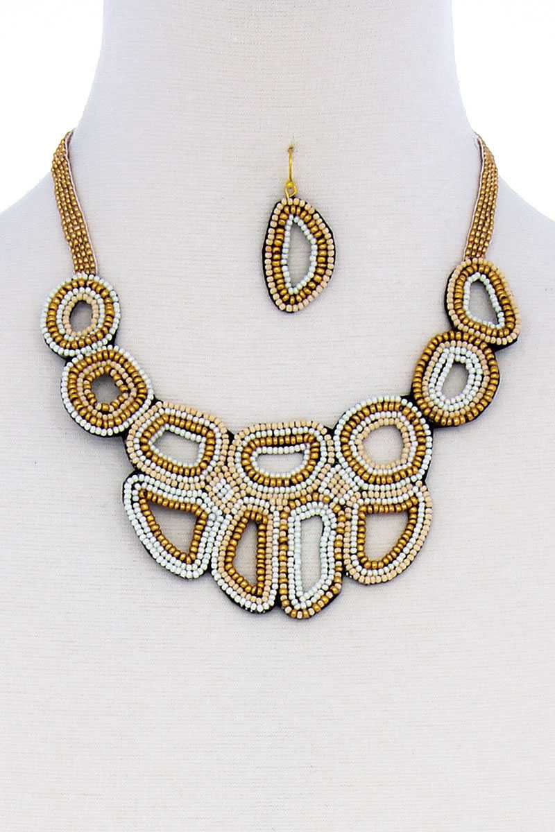 slaythedaybydcole,Multi Beaded Chunky Necklace And Earring Set,Slay The Day By D Cole,