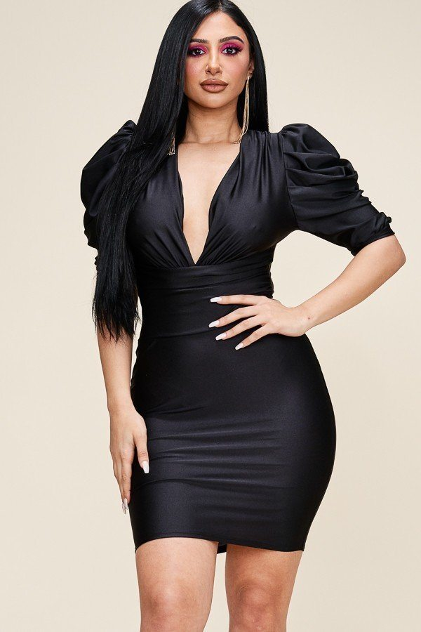 slaythedaybydcole,Solid Short Puff Sleeve Dress With Plunged V Neck Line,Slay The Day By D Cole,