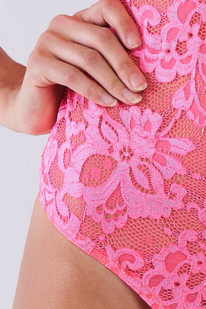 Sexy Lace Collared Bodysuit With Corset Back