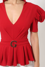 Draped Puff Shoulder Top With G Buckle Detail