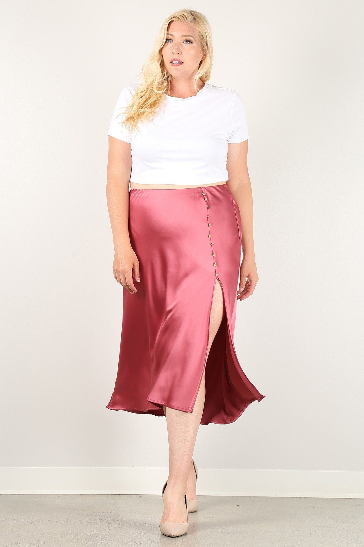 Solid High-waist Skirt With Button Trim And Side Slit