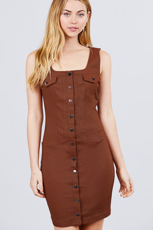 Button Down Detail Mini Woven Dress